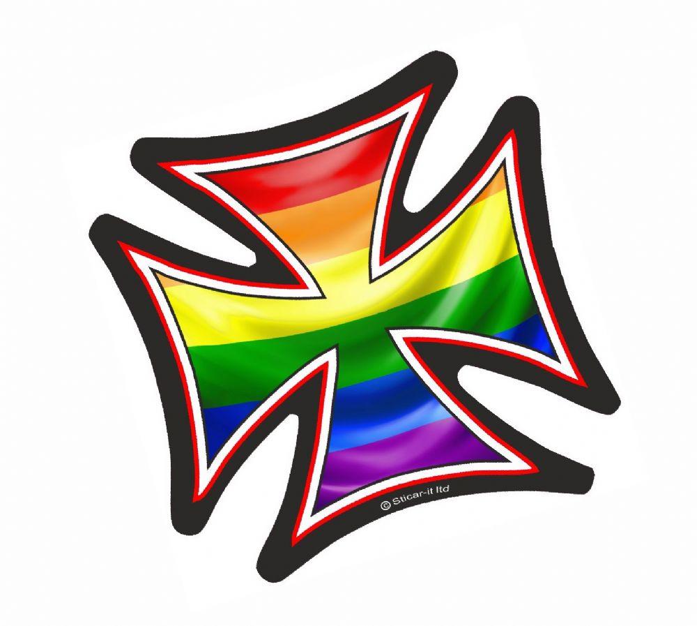 Iron Cross With Lgbt Gay Pride Rainbow Flag Motif External